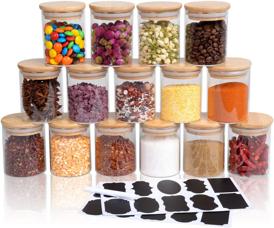 15 Piece Glass Storage Jars Set with Airtight Bamboo Lids and Labels, 6oz Glass Spice Jars-Mini Food Storage Containers for Home Kitchen,Pantry, Tea, Sugar, Salt, Coffee, Flour, Herbs, Grains