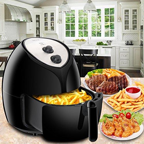 SUPER DEAL 5.8 Quarts Extra Large Capacity Hot Air Fryer XL Oven Cooker - Recipes & CookBook - Temperature Control - Non-stick Dishwashable Basket - Accurate Manual dials - Auto Shut off & Timer