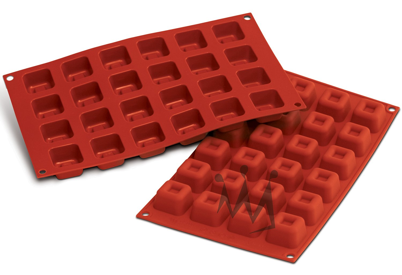 Silikomart Professional SF080 Silicone Baking Mold Square Savarin 0.54 Oz Volume, 1.37'' x 1.37'' x 0.84'' High, 24 Cavities (1 Each) by Silikomart Professional