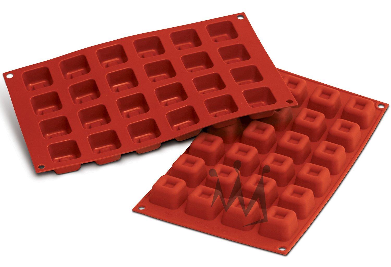 Silikomart Professional SF080 Silicone Baking Mold Square Savarin 0.54 Oz Volume, 1.37'' x 1.37'' x 0.84'' High, 24 Cavities (1 Each)