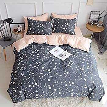 PinkMemory Queen Duvet Cover Floral Cotton Bedding Set Gray Flowers Branches Printing,Reversible Peach and Gray Duvet Cover Set-Ultra Comfy Breathable Zipper