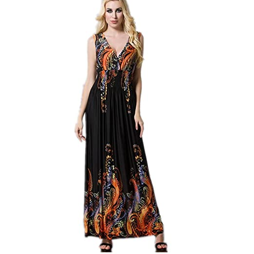 e3cc70356ed Judy Dre am Women s Sexy Deep V-Neck Plus Size Dresses Black Boho  Sleeveless Maxi
