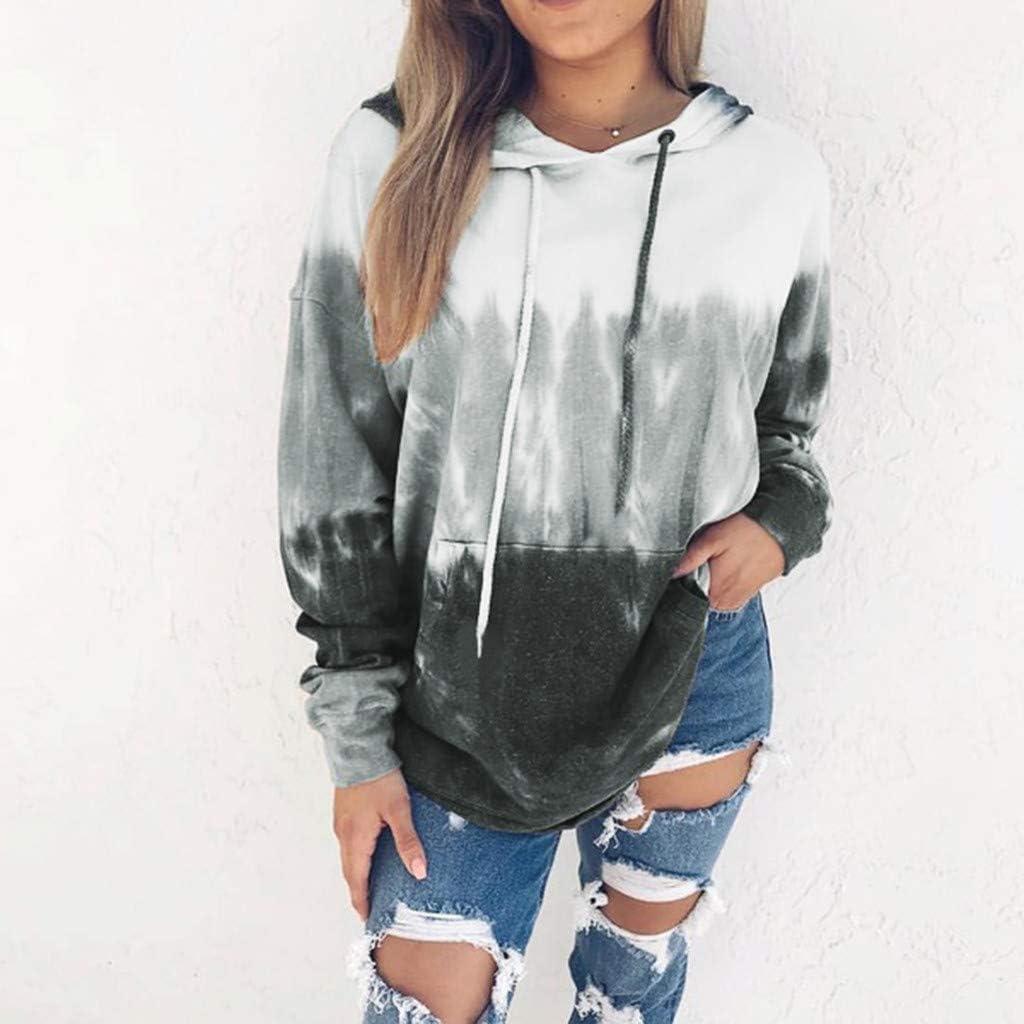 haoricu Women/'s Sweatshirt Ladies Teen Girl Casual Shirts Autumn Gradient Color Print Long Sleeve Jacke Top