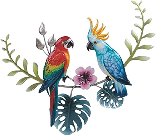 DeJon Metal Wall Art Decor Beautiful Parrots Blue Red 15 Long x 19″ Wide 63134