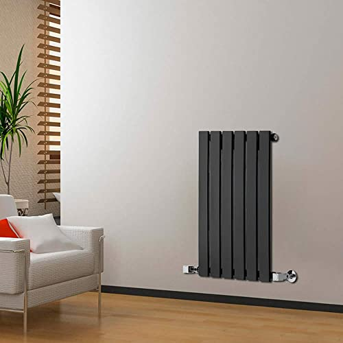 Milano Alpha   635mm X 420mm Black Horizontal Flat Column Panel Designer  Radiator