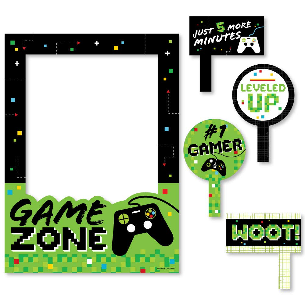 Big Dot of Happiness Game Zone - Pixel Video Game Party or Birthday Party Selfie Photo Booth Picture Frame and Props - Printed on Sturdy Material