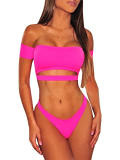 cc51202ceed2f Womens Strapless Off The Shoulder Bikini Cutout Padded Top Thong Swimsuit  Beachwear