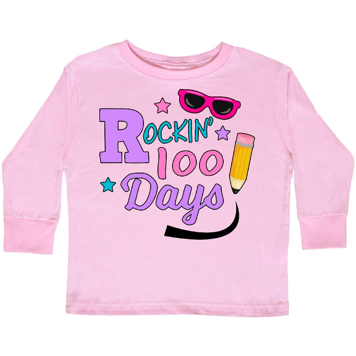 inktastic Rockin 100 Days with Sunglasses and Pencil Toddler Long Sleeve T-Shirt