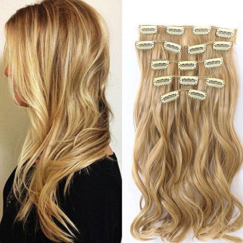 Neverland Beauty 7 Tressen Haarverlangerung Gelockt Clip In SET Extensions Haarverdichtung Honey Blonde
