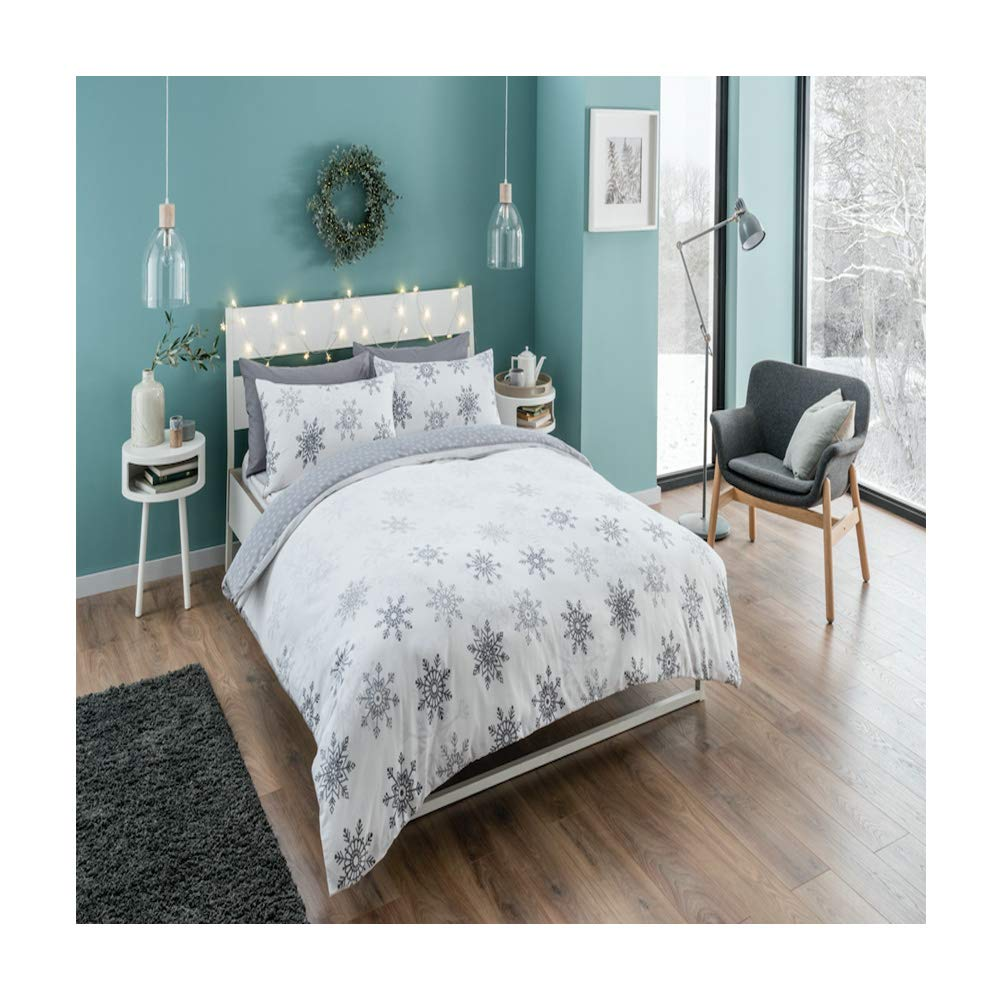 New Snowflakes Bedding Xmas Duvet Cover Set Double Size Reversible Bed with Pillowcases Quilt Grey Ombre Snowflakes