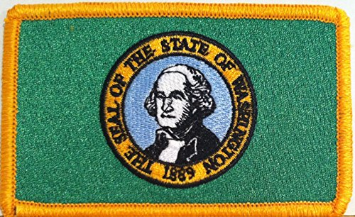 WASHINGTON STATE Flag Embroidered With VELCRO Patch MC Biker
