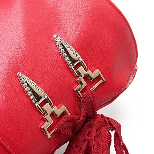 AllhqFashion Mujeres Puntera Redonda Cuña Caña Alta Tachonado Botas con Encaje Rojo