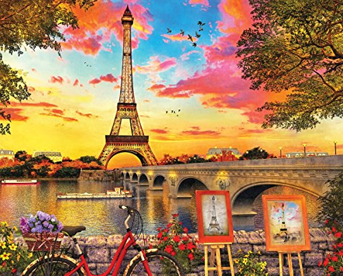 Springbok Paris Sunset - 350 Piece Jigsaw Puzzle - Large 23.5 Inches by 18 Inches Puzzle - Made in USA - Unique Cut Interlocking Pieces