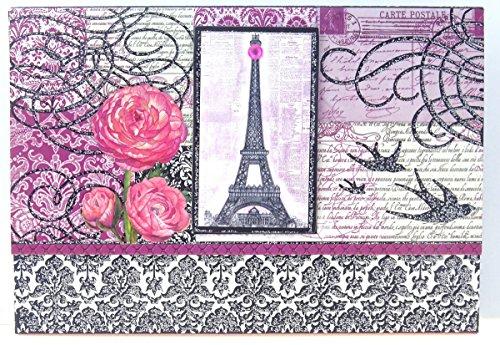 #95190 Punch Studio Eiffel Tower Note Card Set Pink Black Damask Glitter Scroll Swallows Embellished Keepsake Pouch