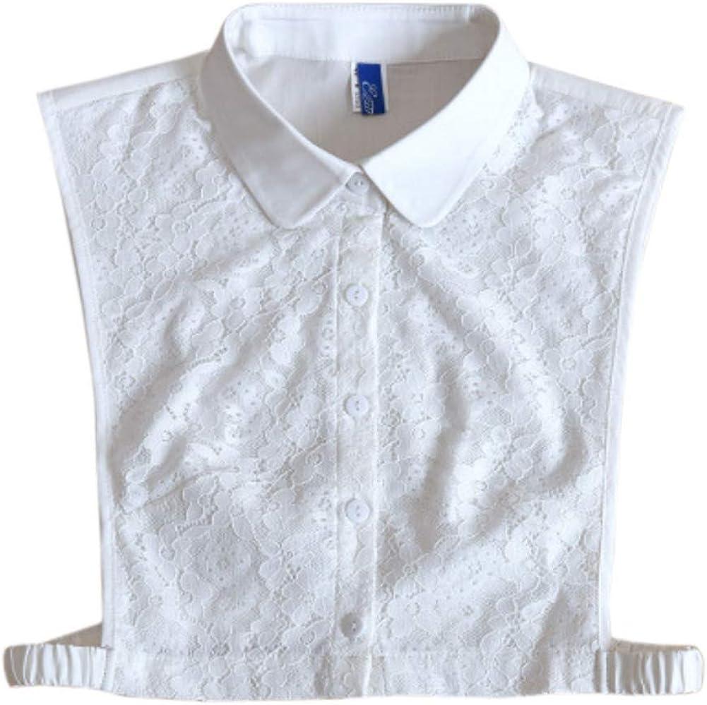 Detachable Half Shirt Stand Ruffle Sharp False Collar Lace White Pure Solid Color