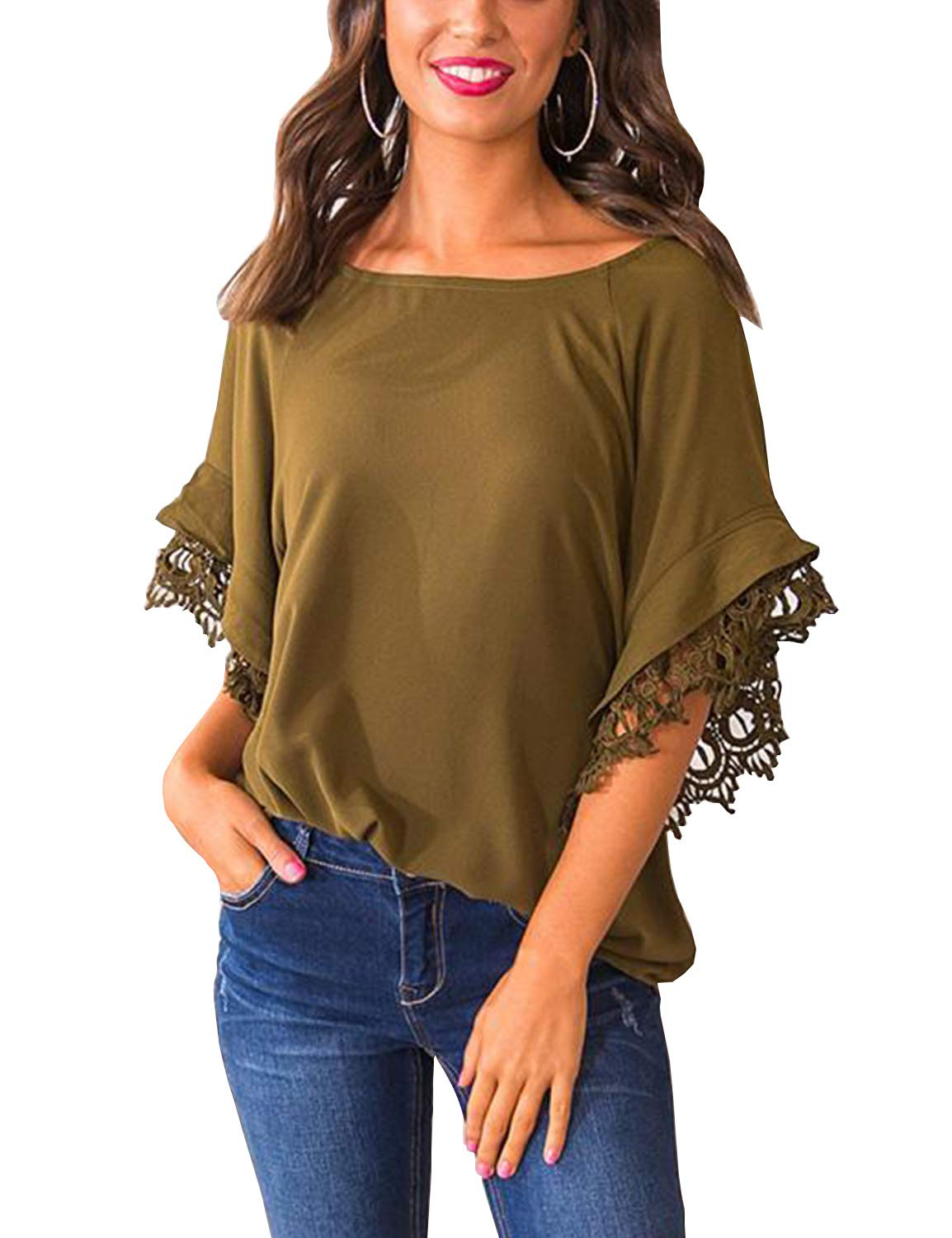 Blooming Jelly Women's Scoop Neck Flare Batwing Sleeve Solid Color Top Yellow
