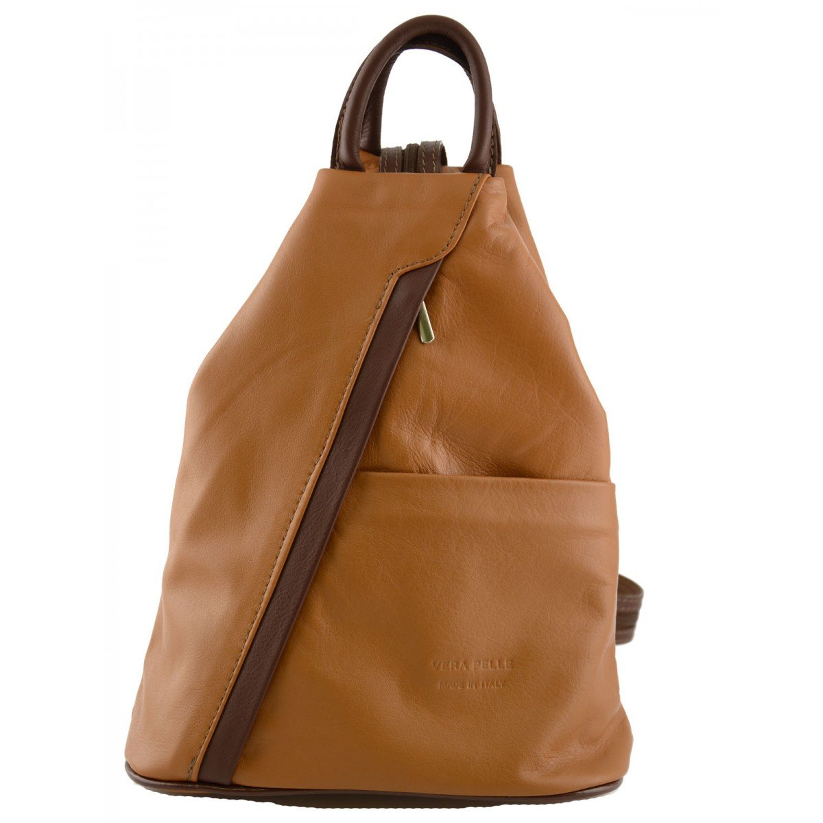 Made In Italy Woman Leather Backpack Color Cognac Brown - Backpack   B014T6IMHI