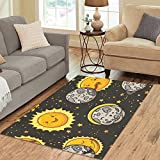Gogogosky Custom Solar Eclipse Totality Area Rug Floor Rug Room Carpet 5'3''x4'