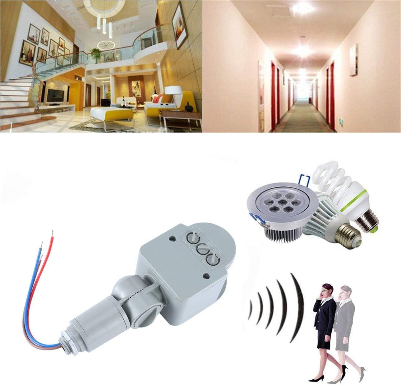 Ba30DEllylelly Interruptor de luz con Sensor de movimiento profesional para exteriores AC 220V Interruptor de Sensor de movimiento PIR infrarrojo autom/ático con luz LED