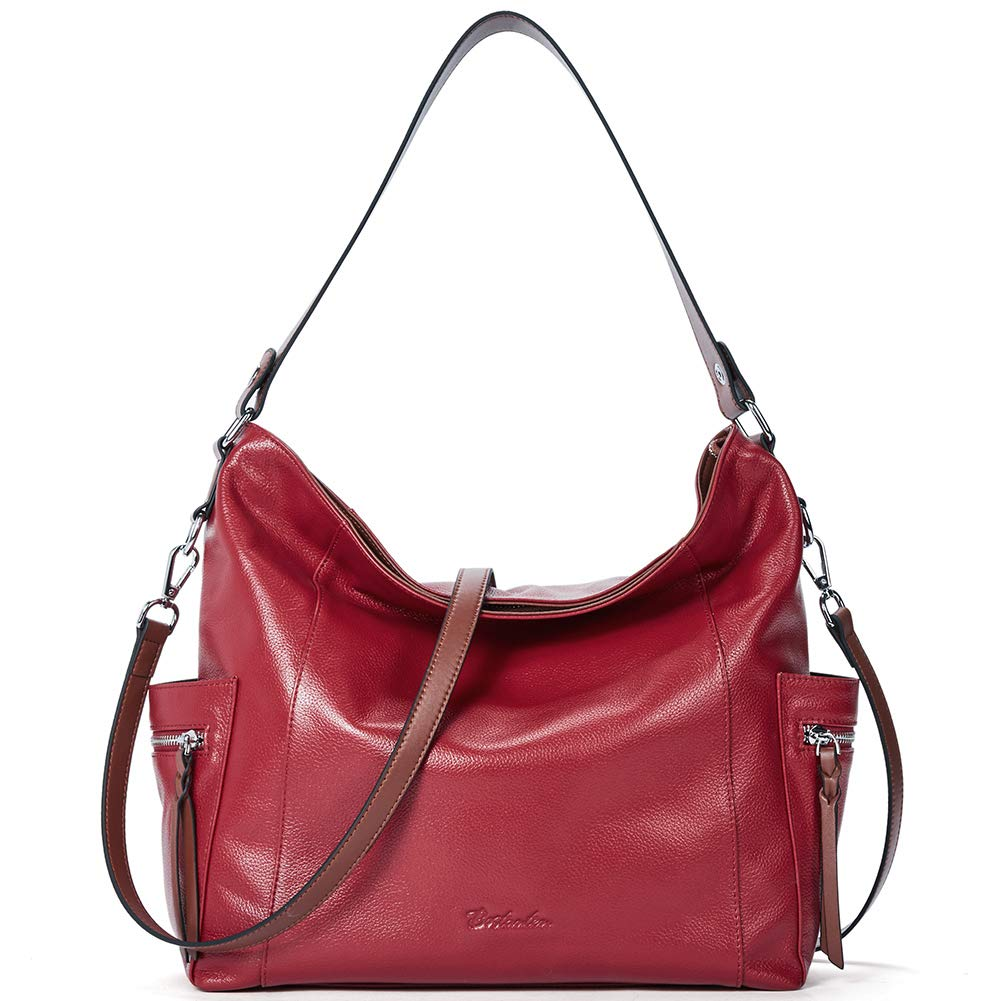 BOSTANTEN Genuine Leather Hobo Handbags Designer Shoulder Tote Purses Crossbody Large Bag for Women Red