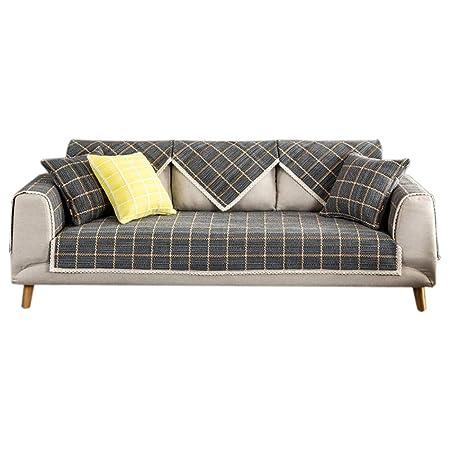 Hilo de algodón tejido Enrejado Cubierta del sofá del sofá Tejidas ...