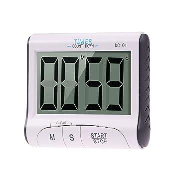 Vosarea Temporizador de cocina digital, temporizador de cocina, pantalla grande, reloj de cuenta regresiva Alarma fuerte con pantalla LCD grande con ...