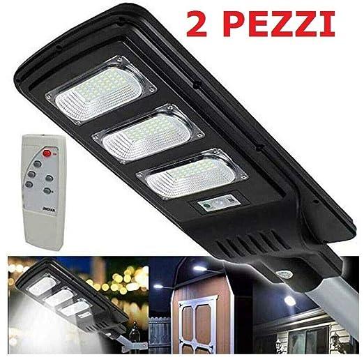 LAMPIONE STRADALE FARO A LED 90W CON PANNELLO SOLARE TELECOMANDO CREPUSCOLARE