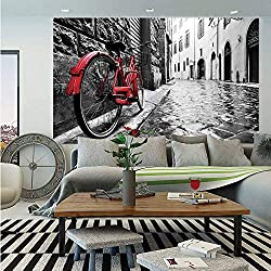 Bicycle Huge Photo Wall Mural,Classic Bike on Cobblestone Street in Italian Town Leisure Artistic Photo,Self-Adhesive Large Wallpaper for Home Decor 100x144 inches,Red Black and White