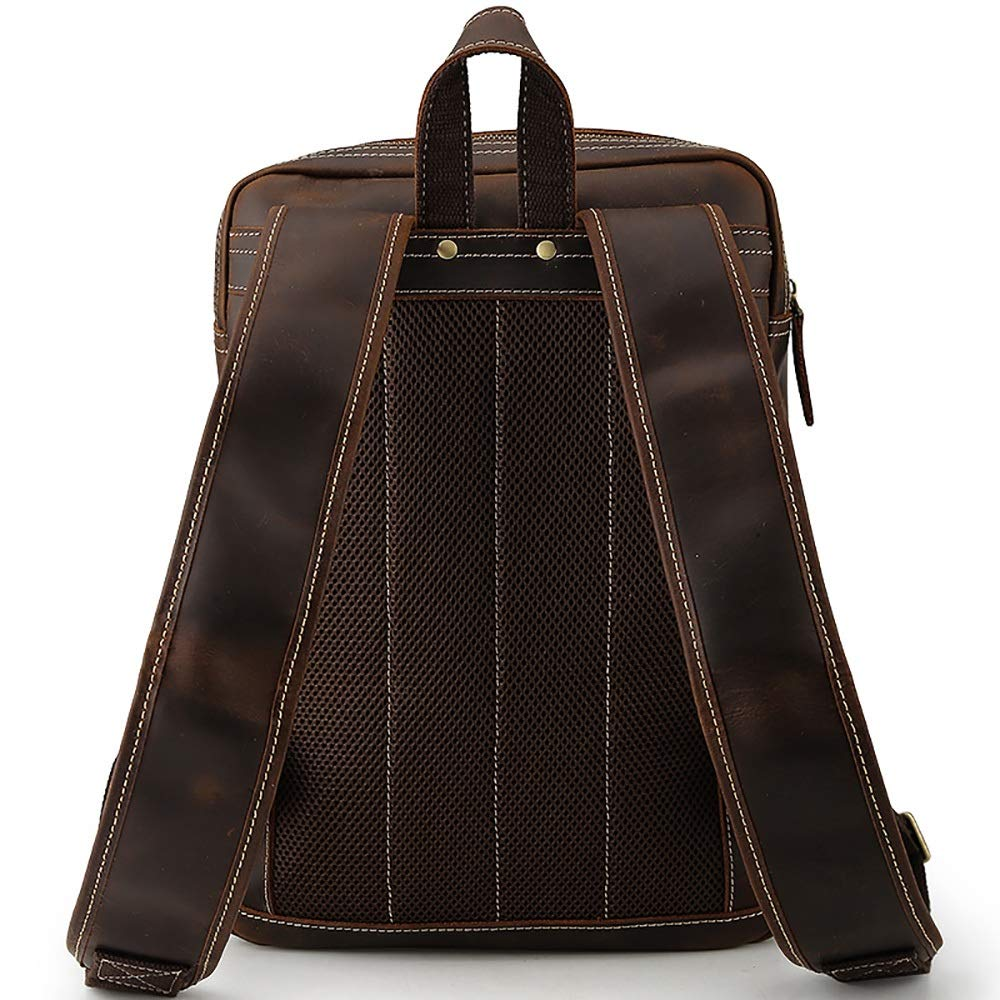 FeliciaJuan Office Dark Brown Retro Style Portable Leather Backpack Tote Bag Business Briefcase 14 Laptop