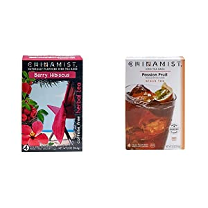 China Mist - Naturally Flavored Berry Hibiscus Herbal Iced Tea Bags - Each Tea Bag Yields 1/2 Gallon & Passion Fruit Black Iced Tea Bags - Each Tea Bag Yields 1/2 Gallon