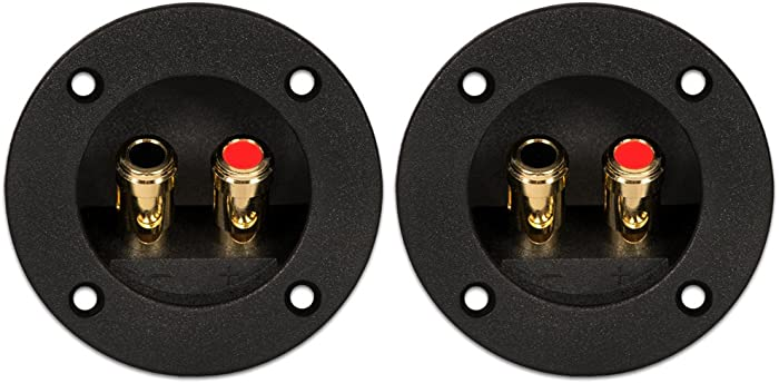 Goldwood Sound Speaker Box Terminal Cups 2 Round Power Speaker Terminal Plates Black (RGT-5050-2)