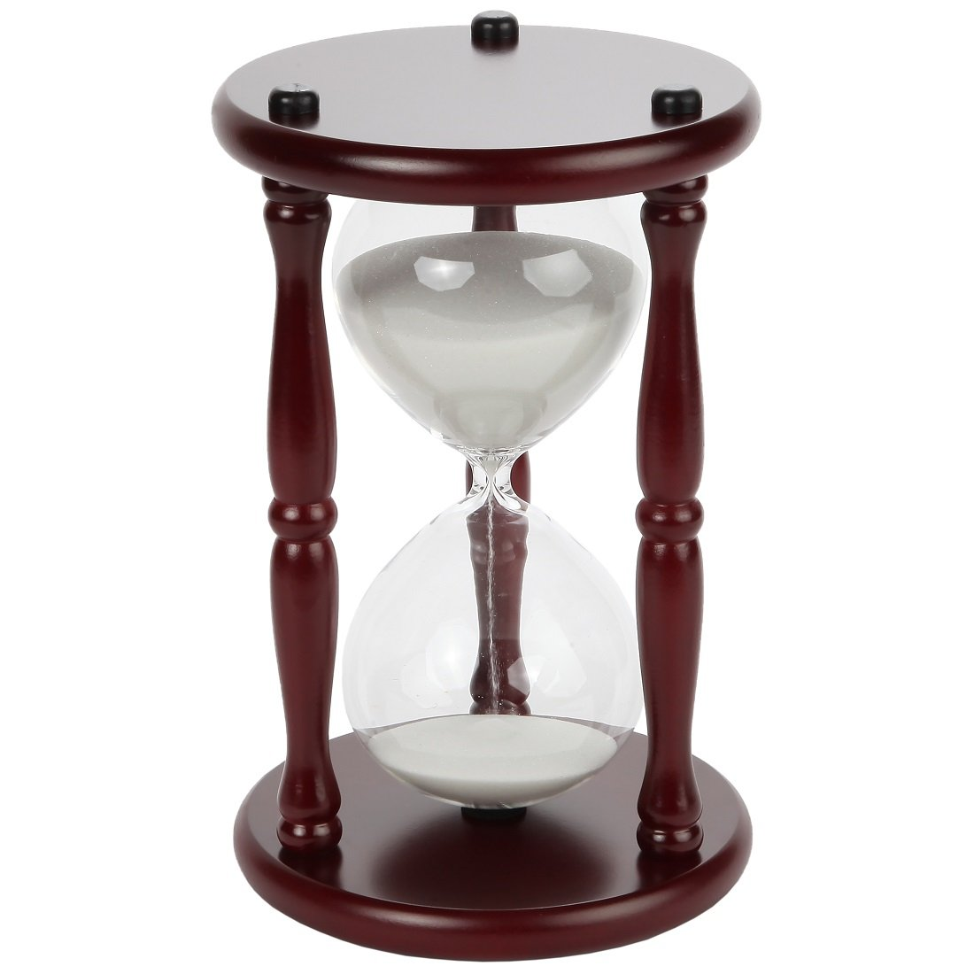 Lily's Home 60-Minute Hourglass Sand Timer with Cherry Finished Wood Base, Stylish Centerpiece for Home or Office Use, Ideal Gift for Executive, Chef or Kitchen Connoisseur (9.5'' Tall x 6'' Dia. Base) by Lily's Home