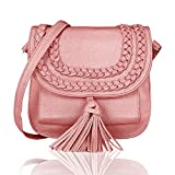 Kleio Faux Leather Braided Crossbody Ladies Bags For Women Girls Cell Phone Wallet Purse Shoulder Bag With Tassel (Pink)