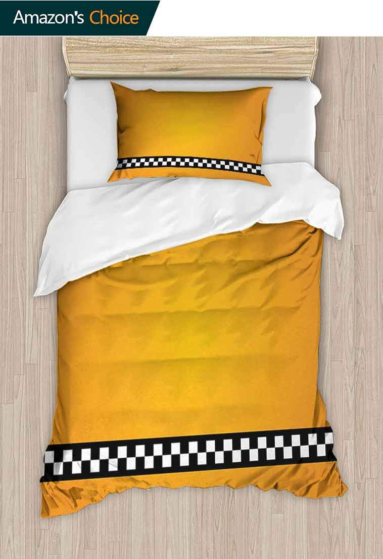 Yellow Printed Quilt Cover and Pillowcase Set, Taxi Cab Car Yellow with The line of Checkers CLAS, Bedding Set with Zipper Ties 1 Duvet Cover 1 Pillow Sham Ultra Soft Luxurious Breathable