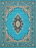 A2Z Rug Traditional Turquoise 9′ x 12′ Mashad Collection Area rug Perfect for any floor & Carpet