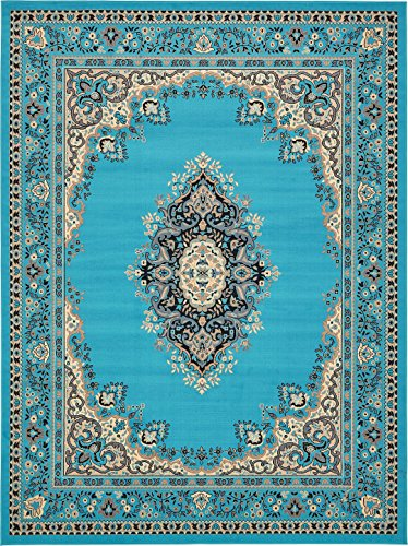 A2Z Rug Traditional Turquoise 9' x 12' Mashad Collection Area rug Perfect for any floor & Carpet (Outdoor Luxury Furniture Designer)