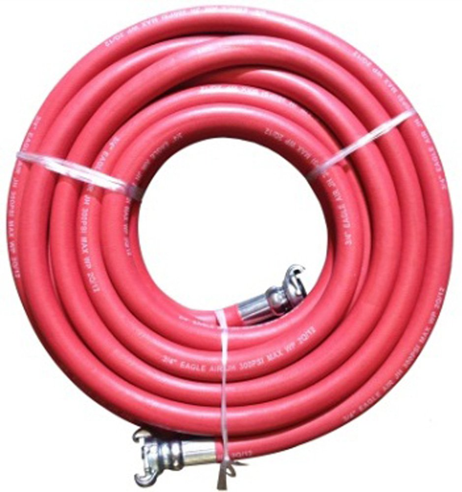 JGB Enterprises Eagle Hosee Red Jackhammer Rubber Air Hose, 3/4'' Universal (Chicago) Couplings, 50' Length