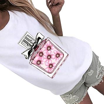 Upxiang Frauen Bluse Sommer Parfüm Flasche Print T Shirt
