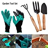 Garden Gloves,Plant Gloves With Claws 4 ABS Plastic Garden Genie Rubber Gloves Quick Easy to Dig and Plant with Garden Tool Set For Digging Planting