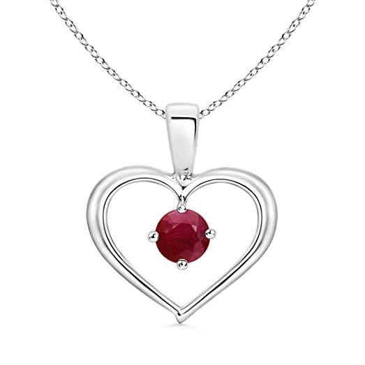 Angara Solitaire Ruby Heart Pendant in Platinum - July Birthstone Pendant
