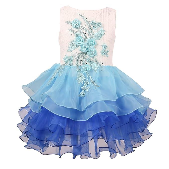 8a3af2bc3cdd Girls Kids Flower Dress Rainbow Lace Chiffon Kids Tulle Tutu Sleeveless  Wedding Pageant Princess Dresses 2