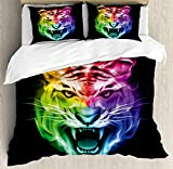 Tiger Bedding Duvet Cover Sets for Children/Adult/Kids/Teens Twin Size, Multicolored Abstract Rendition Large Feline Blazing Spectrum of Fire Rainbow Color, Hotel Luxury Decorative 4pcs, Multicolor