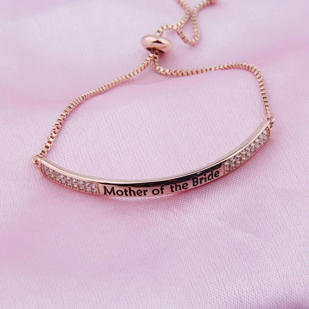 CZ Paved Mother in Law Bracelet Mother of The Bride Groom Bracelet with Slider