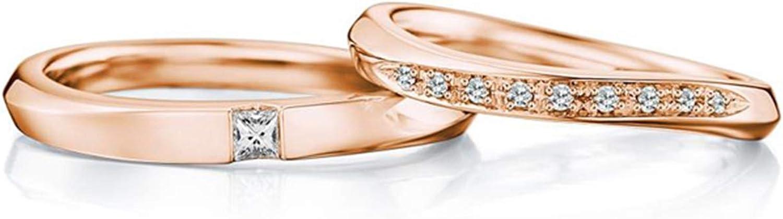 Epinki Anillo Oro Rosa 18k Retorcido Diamante 0.10ct & 0.09ct Anillo de Compromiso Pareja