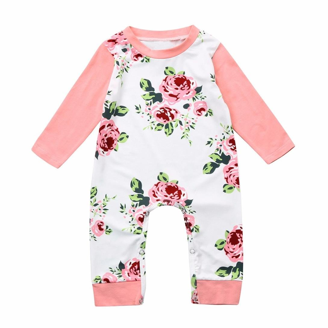 WARMSHOP Romper Baby Girl Floral, Newborn Girls Boys Jumpsuit Clothes with Long Sleeve Flower Print Warm Baby Romper Outfit China