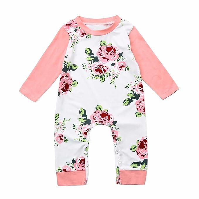 Amazon.com: WARMSHOP Romper bebé niña floral, recién nacido ...
