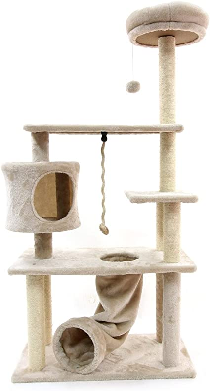 Amazon.com : CUPETS Cat Tree Cat Climber Kitten Activity Tower Condo Multi Level Pet Play House with Scratching Post and Slide Activity Tree Pet Products for Cats 55 Inches High : Pet Supplies