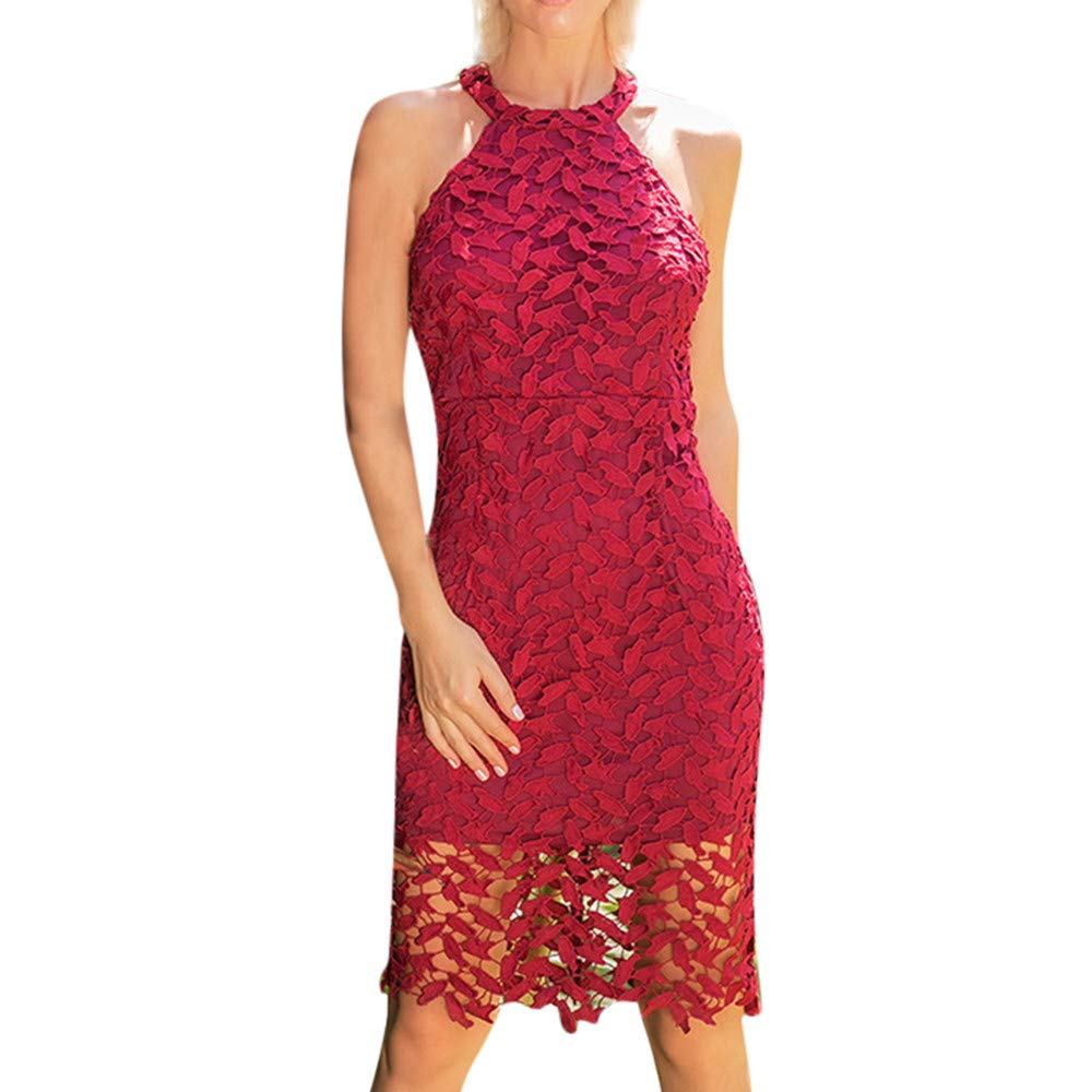 iHPH7 Women Lace Sleeveless Bodycon Cocktail Party Pencil Dress Bandage Dresses