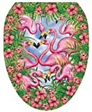 Toilet Tattoos TT-7307-O Flamingo's Fancy Decorative Applique for Toilet Lid, Elongated