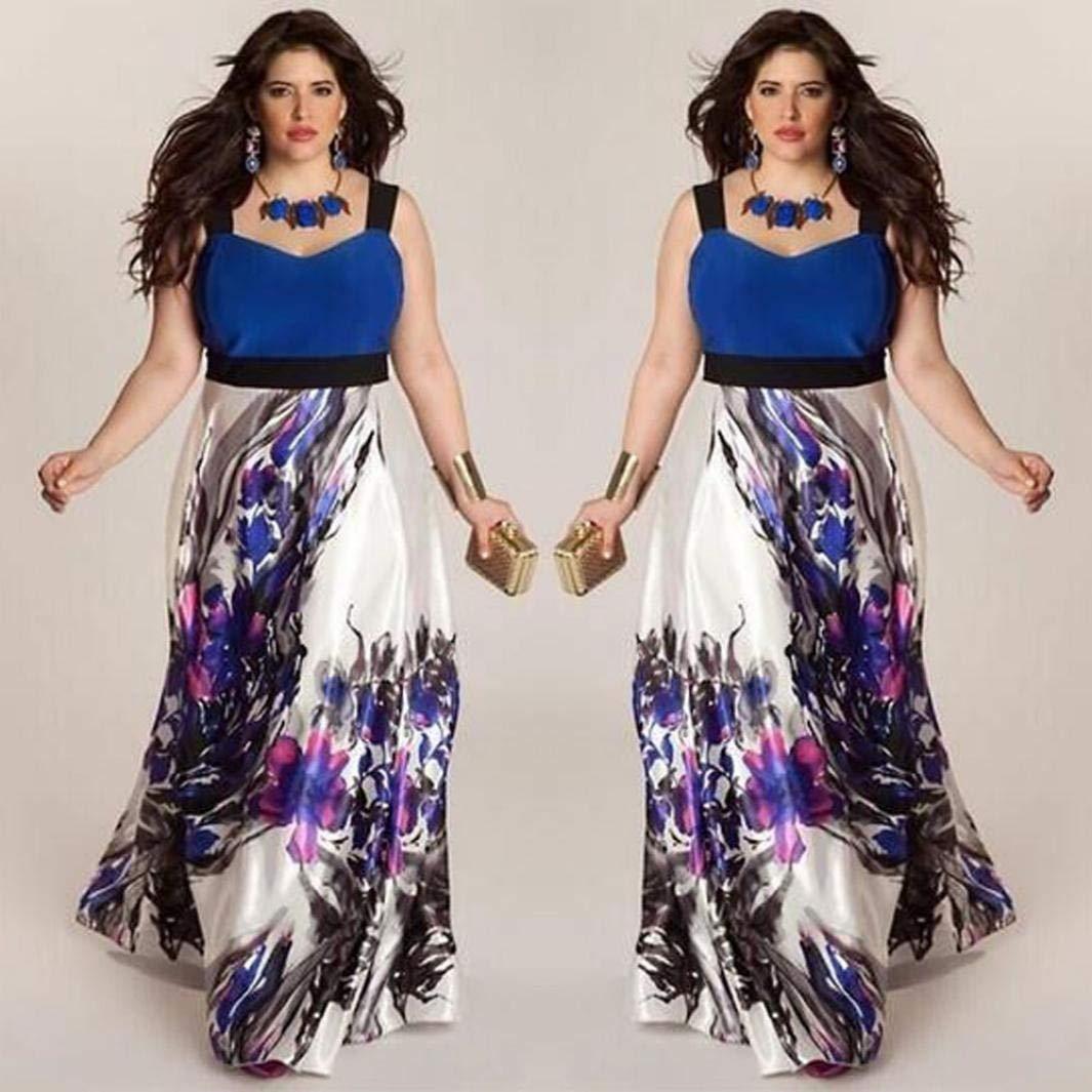 VJGOAL Mujeres más el tamaño Sexy sin Espalda sin Mangas con Cuello en V de Moda Correa de Hombro Ancha Floral Vestido de Fiesta Vestido de Tobillo de ...